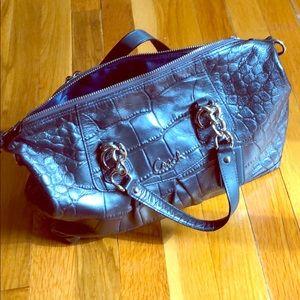 Coach snake print leather handbag in metallic blue
